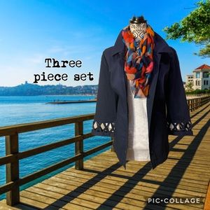 D & CO Navy blue stretchy jacket w/top & scarf